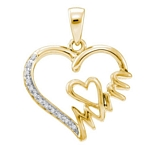 Yellow-Tone Sterling Silver Round Diamond Mom Heart Pendant 1/20 Cttw