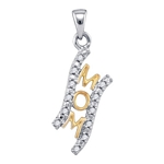 Sterling Silver Round Diamond 2-Tone Mom Mother Pendant 1/10 Cttw