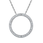 Sterling Silver Round Diamond Circle Outline Pendant 1/20 Cttw