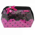 Lace and Polka Dot Wired Cosmetic Bag (Hot Pink)