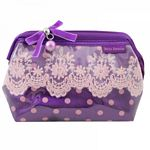 Lace and Polka Dot Wired Cosmetic Bag (Purple)