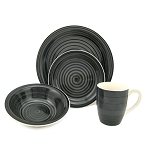 16 Piece Round Stoneware Dinnerware Set- Black